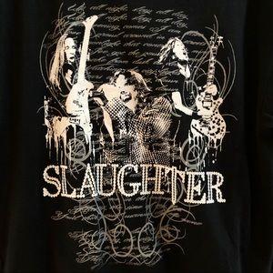 GILDAN Men's Slaughter Black White Graphic Tee L